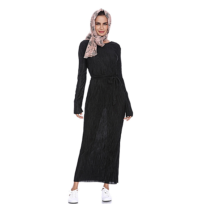 Fashion meibaol store Muslim Summer y Slim Pleated Striped Trumpet Sleeves Hip Dress à prix pas cher