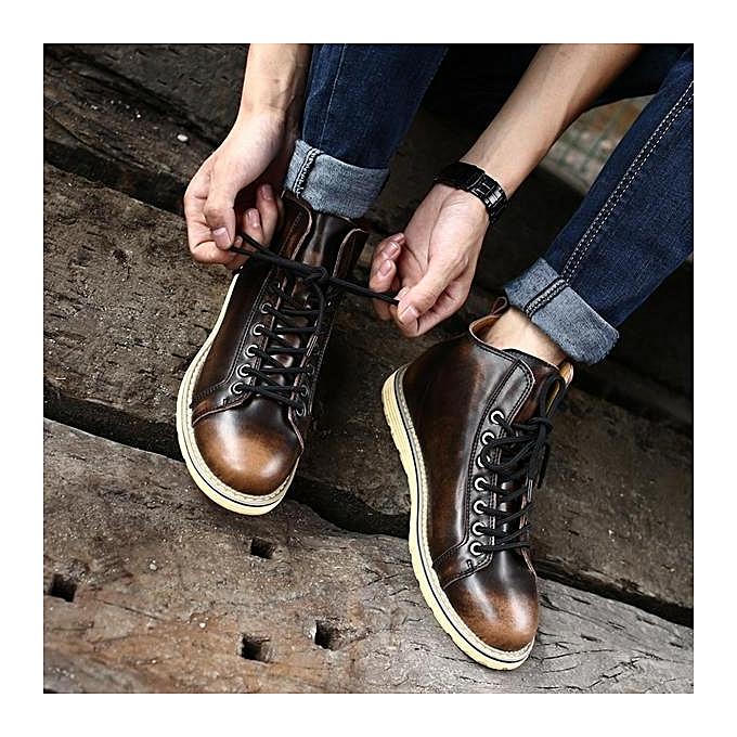 Fashion Fashion Large Size Vintage Color Match prix Ankle High Top Leather British Style Boots-EU à prix Match pas cher  | Jumia Maroc 56e877