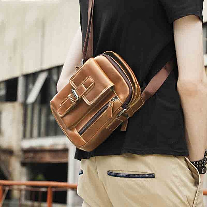 Other Men's  Leather Fashion Casual Messenger Bag Solid Couleur Business High Quality Air Travel Bag Large Capacity Shoulder Bag(marron) à prix pas cher