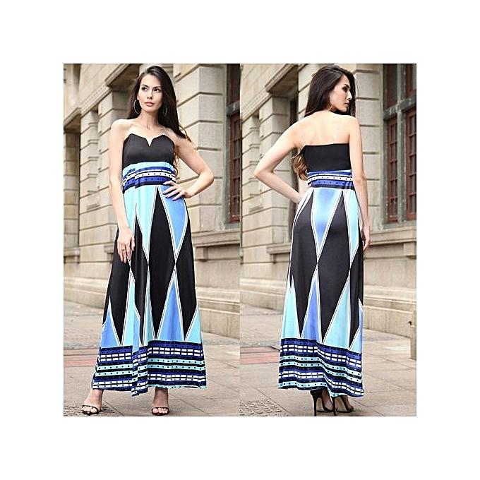 Fashion femmes Strapless Sundress Maxi Dresses Casual Geometric Print Off Shoulder High Split Asymmetrical Sexy Hot Dress-bleu à prix pas cher