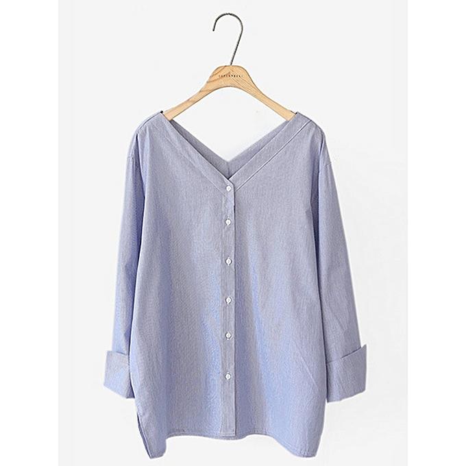 Fashion femmes Stripe V-neck Cotton Long Sleeve Blouse à prix pas cher