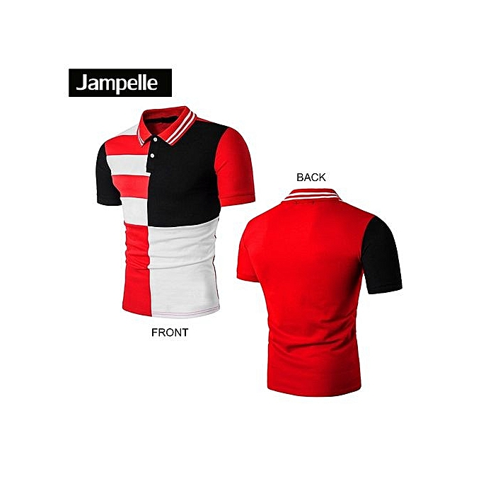 mode JAMPELLE European American mode B64 Hommes Polo Shirt Stripe Printed Hommes Shirt-rouge à prix pas cher