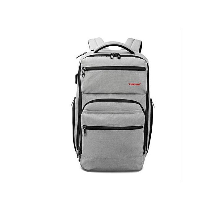 Generic Anti Theft Hommes mode USB Charger 15.6inch Laptop sac sac à doss voyage Décontracté Schoolsac For Boy gris à prix pas cher