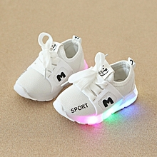 8a7e6b20f Stylish Spring and Autumn Children Sports Shoes LED Lights Shoes -White