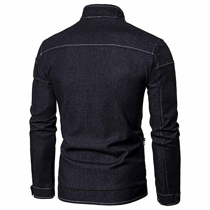 Fashion Men's Autumn Cowboy Slim Long Sleeved Denim Solid Blouse Fit Shirt  Jacket -  noir à prix pas cher