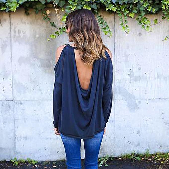 mode Hiamok femmes Loose manche longue T Shirt Off Shoulder Décontracté chemisier XL à prix pas cher