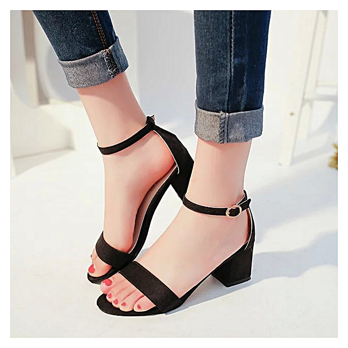 Fashion Wohommes chaussures, heel chaussures, thick with toe, suede, sexy word buckle, femmes sandals, Rohomme chaussures, tide à prix pas cher    Jumia Maroc