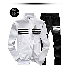 WHITE Spring And Autumn New Men  039 s Large Size Sports Suit Casual Long 5e176575da35