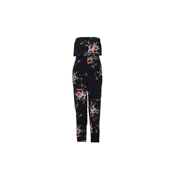 Eissely femmes Off Shoulder Floral Print Sleeveless Jumpsuit Summer Loose Playsuit BU L- bleu L à prix pas cher