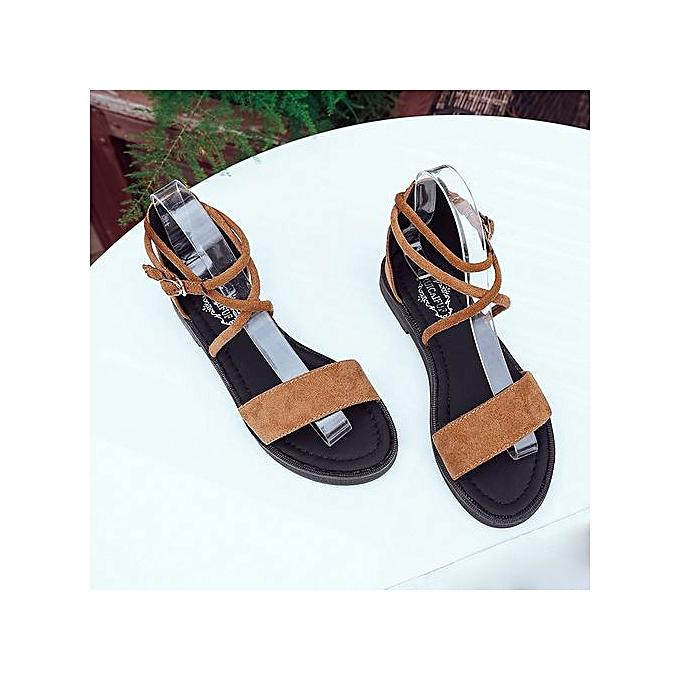 Fashion Hiamok femmes Flat Sandals Cross Straps Open Toe Buckle Low Heel Sandals Wedge Summer à prix pas cher    Jumia Maroc