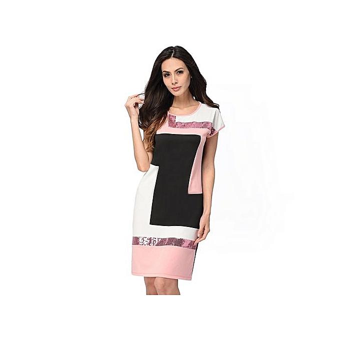 mode femmes Daily Shift Robe été O Neck Pacthwork Vestidos Sheath Contrast Sequined Midi Robes Prom Work Robe Falda-rose à prix pas cher