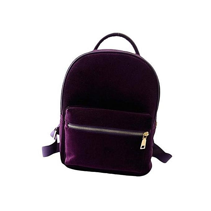 nouveauorldline femmes or velours petit sac à dos sac à dos School Book Shoulder  sac  PP- violet à prix pas cher