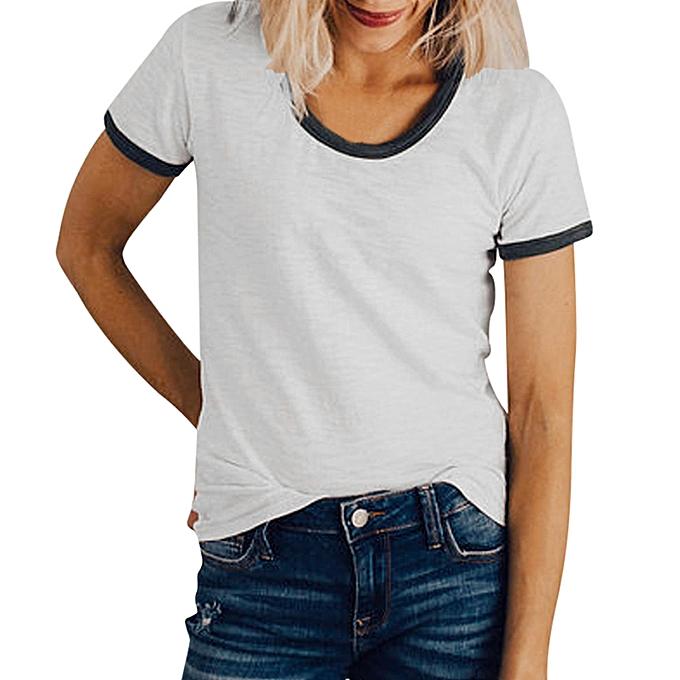 Generic Generic femmes été Décontracté Solid  manche courte T-shirt Tank Top chemisier  A1 à prix pas cher