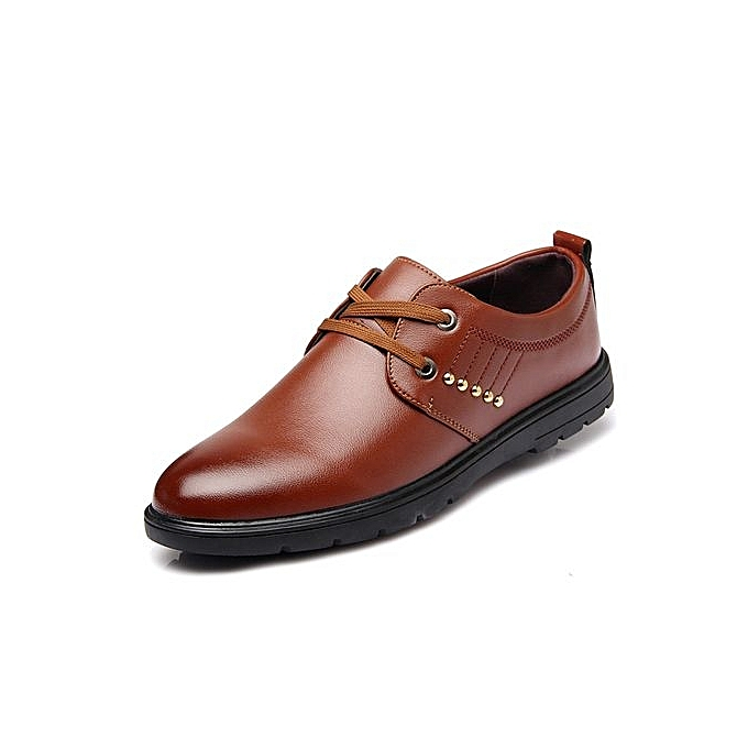 Generic High Quality Men Flats Casual New Genuine Leather Flat chaussures Men Oxford Fashion Lace Up Dress chaussures Work chaussures-marron à prix pas cher