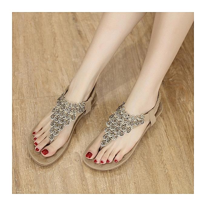 OEM New style Large      's flat Chaussure s new summer national sandals flowers Bohemia slippers-apricot à prix pas cher  | Jumia Maroc 6b3cb3
