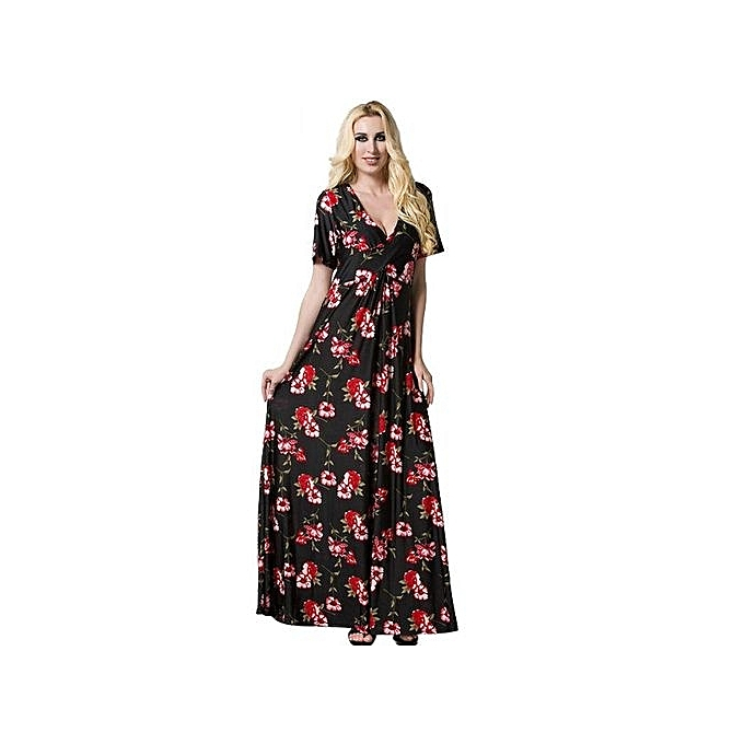 Generic Wohommes Boho Wraped V-neck Floral Print Maxi Dress (noir) à prix pas cher