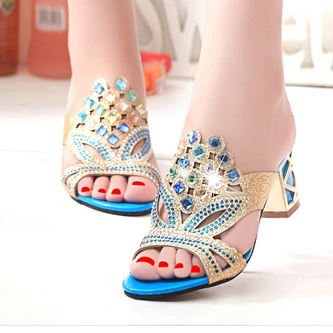 Fashion Jummoon Shop New Summer Fashion femmes Big Rhinestone High Heel Sandals Ladies Party chaussures à prix pas cher