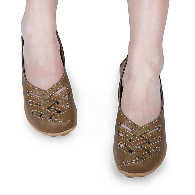Fashion Summer Casual WoHommes  Hollow Genuine Soft Leather Soft Genuine Soled Flat Shoes à prix pas cher  | Jumia Maroc ceb84e