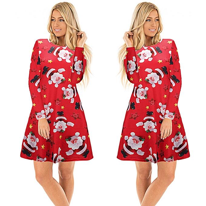 mode femmes Christmas Santa Printed manche longue Robe Party Evening Robe RD L à prix pas cher