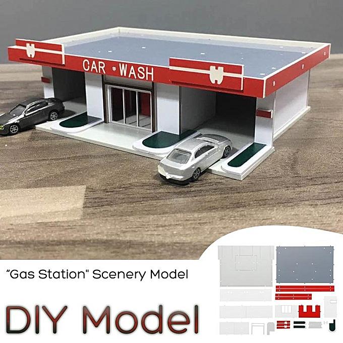 UNIVERSAL 1 50 Scale  Gas Station  Model Building Kit Scenery DIY Model  voiture Was  Model à prix pas cher