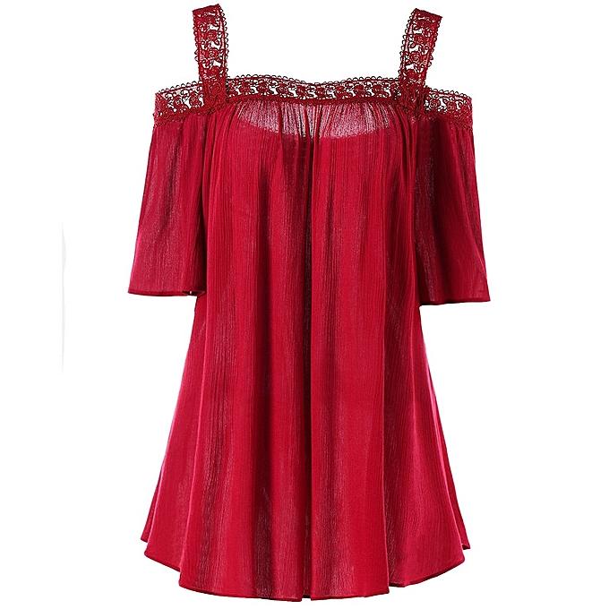 Generic Generic femmes Plus Taille Solid Lace Patchwork Ruched chemisier manche courte hauts Cami Shirt A1 à prix pas cher