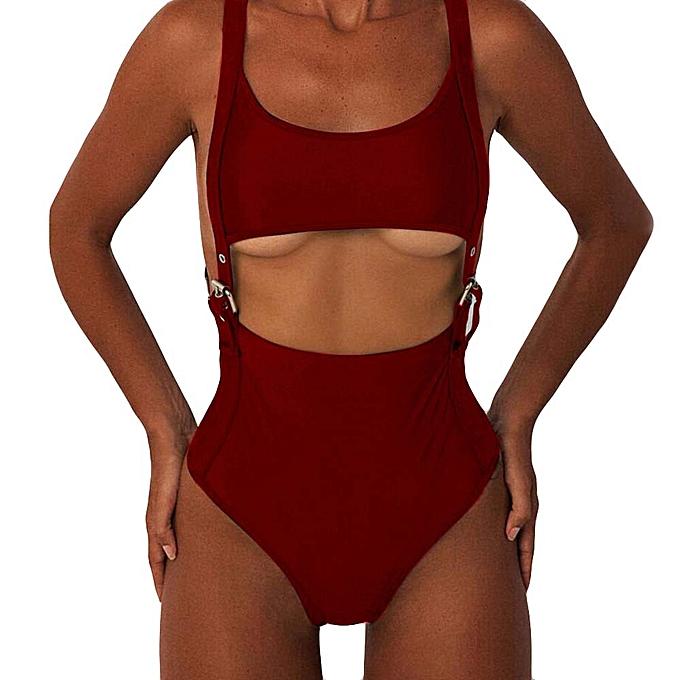 Fashion quanxinhshang femmes Rivet Hollow Out Jumpsuit Push-Up Padded  Beach  Bikini One Piece Swimwear à prix pas cher