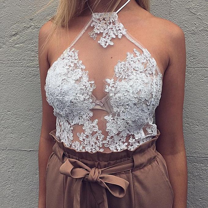 OEM New Halter Embroidery Hollow Lace Top-blanc à prix pas cher