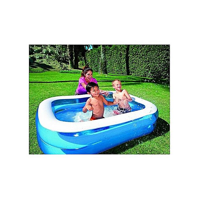 BESTWAY Piscine familiale translucide bleue L 2.01m l 1.50m h 0.51cm + Gonfleur gratuit à prix pas cher