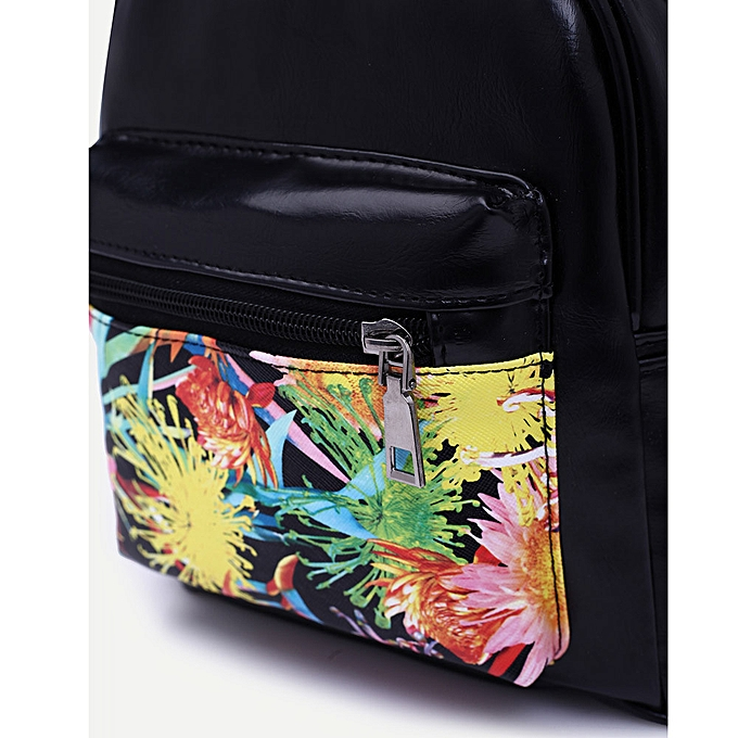 Neworldline Unisex Girls Boys Print Backpack School Book Travel Backpack Bag-noir à prix pas cher
