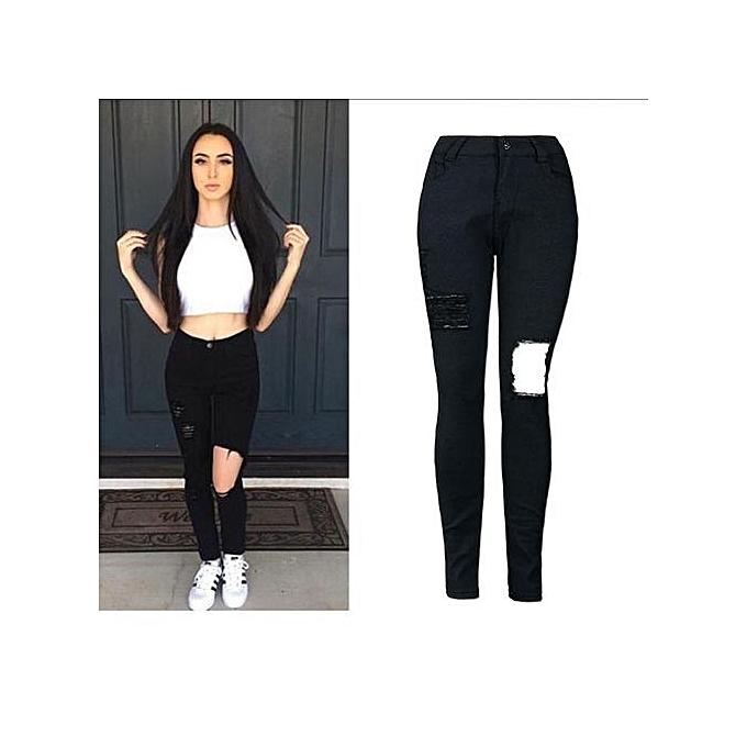 mode Xiuxingzi_femmes High Waist Denim Skinny Ripped Pants Stretch Jeans Slim Pencil Trousers XL à prix pas cher
