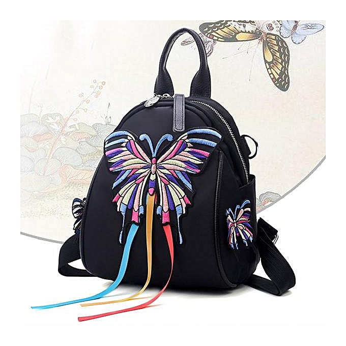 UNIVERSAL femmes Oxford Embroidery Functional Shoulder Bag Backpack butterfly à prix pas cher