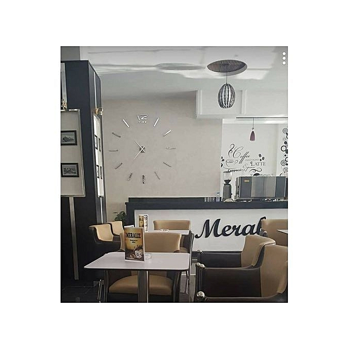 38ee56e126dcc As Seen On TV Horloge Murale 3D Originale Design - Silver à prix pas ...