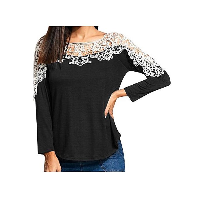 Fashion Tectores femmes Ladies Casual Lace Patchwork T-Shirt Long Sleeve Tunic Tops Blouse à prix pas cher