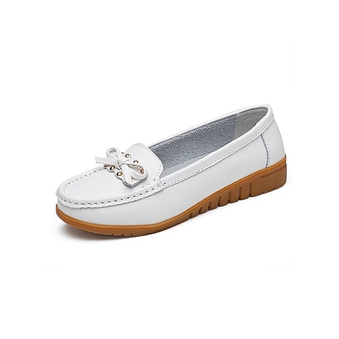 Tauntte Butterfly-knot Leather Genuine Leather Butterfly-knot Moccasins Rivets WoHommes  Casual Shoes (White) à prix pas cher    Black Friday 2018   Jumia Maroc 365de6