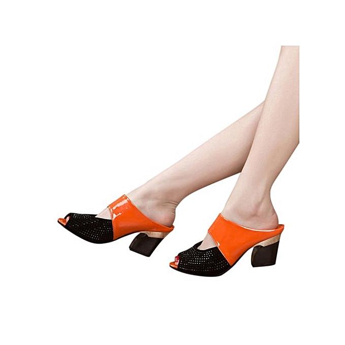 Fashion Jiahsyc Store Ladies femmes Sandals Mixed Couleurs Square talons hauts Slipper Fish Mouth chaussures-Orange à prix pas cher