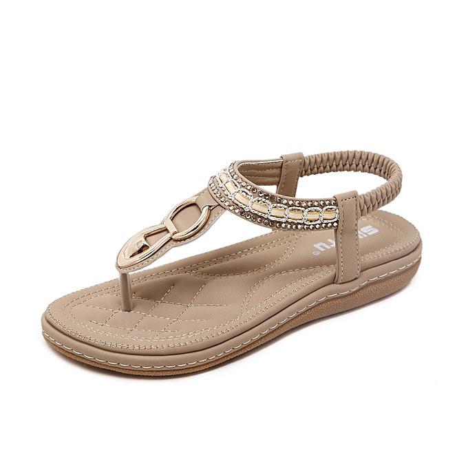 OEM nouveau Super grand Taille cuir femmes Sandals Bohemian Diamond Slippers femme Flats Flip Flops chaussures été plage Sandals -apricot à prix pas cher
