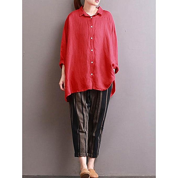 mode ZANZEA  Décontracté mode Button Down Shirt femmes Autumn Lapel Solid manche longue High Faible Hem Top Vintage sacgy chemisier rouge à prix pas cher