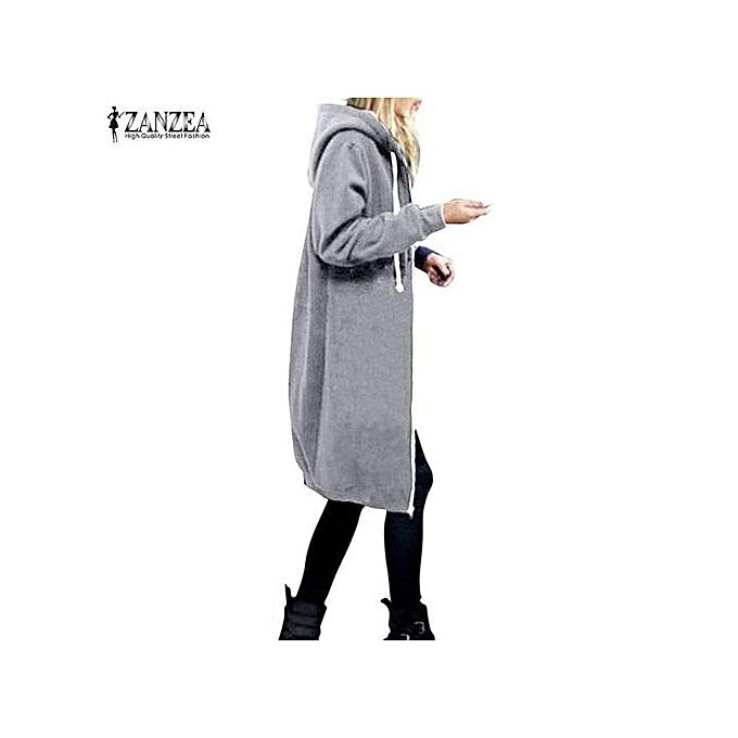 6b4305823e1b7 Commandez Zanzea Manteau A Capuche Pour Femme - Gris à prix pas cher ...