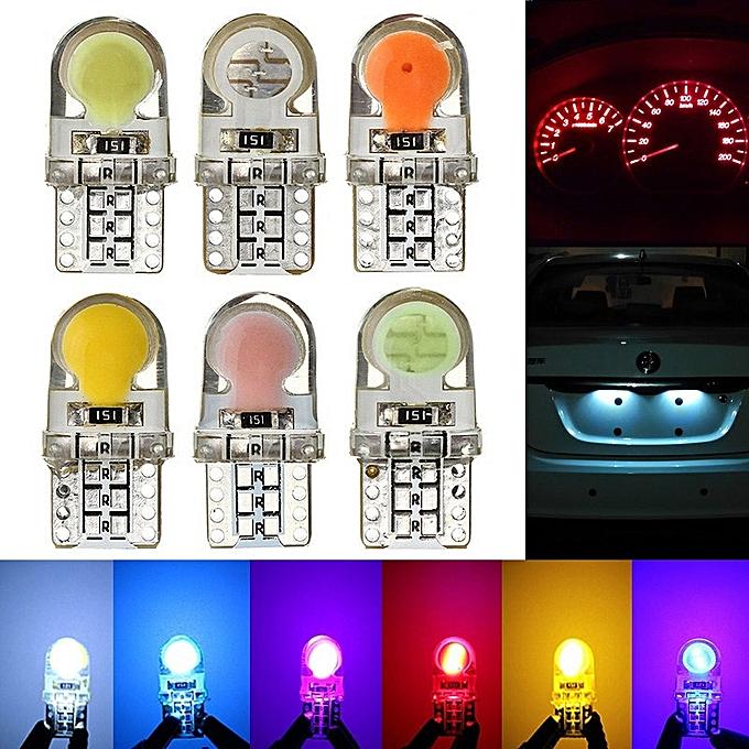 UNIVERSAL 10pcs T10 194 168 W5W DC12V COB8 SMD LED Canbus Silica Bright blanc License Light Bulb blanc à prix pas cher