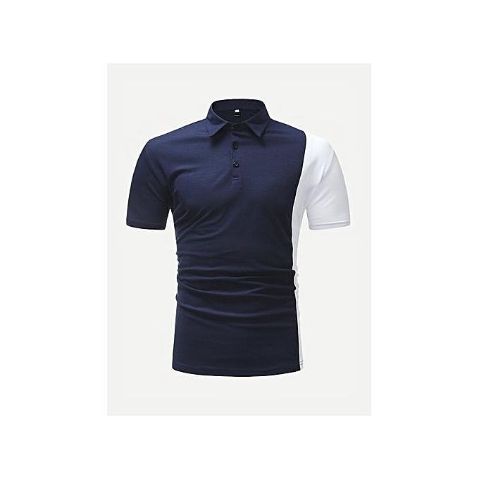 SHEIN Hommes Contrast Panel Polo Shirt à prix pas cher