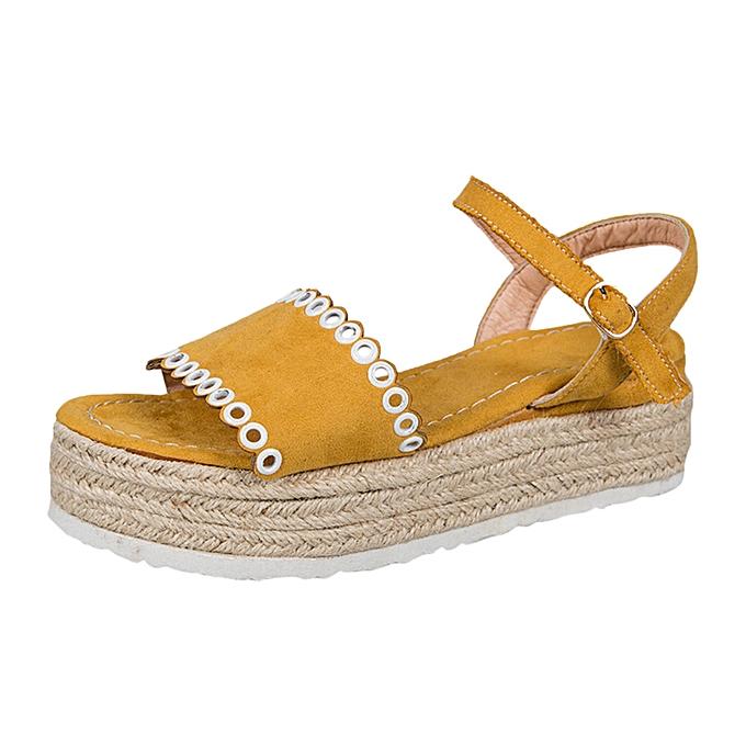 Fashion femmes Casual Open Toe Buckle Strap Sandals Platforms Med Heel chaussures à prix pas cher