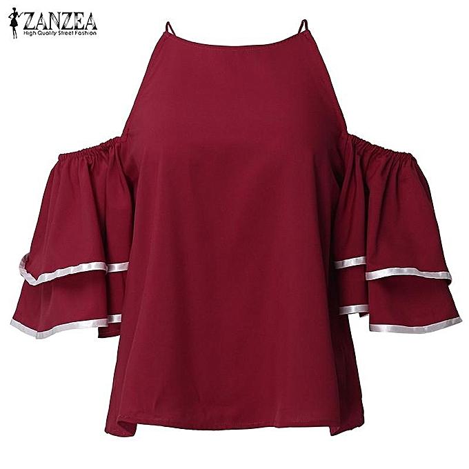 Zanzea ZANZEA femmes Off Shoulder O Neck Décontracté Loose hauts T-shirt été rayé Flounced Bell Sleeve Party Top bleusas(Wine rouge) à prix pas cher