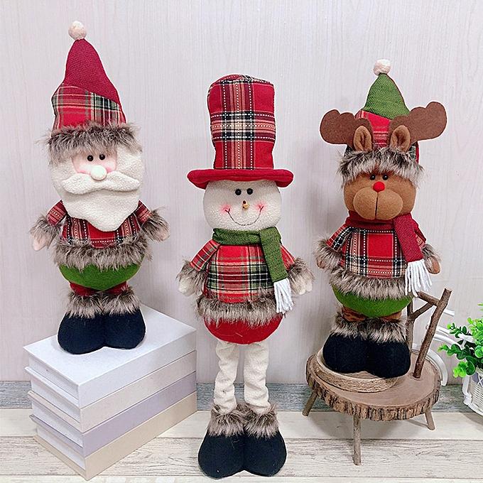 Autre Christmas Toys Plush Doll Christmas Tree pendentif Telescopic Doll The OrnaHommest Santa Snowhomme Reindeer Handicraft Soft Present (Telescopic doll-B) à prix pas cher