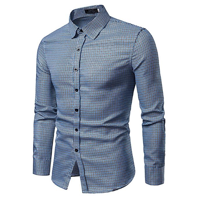 Fashion Men's Autumn Winter New Style Blouse Gilt Plaid Casual Long Sleeved Shirt -bleu à prix pas cher
