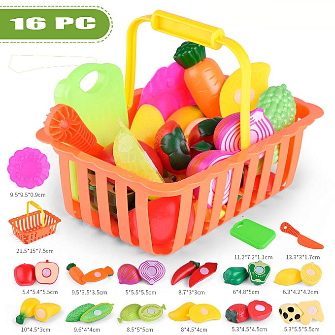 OEM 16PC Enfants Pretend Role Play Kitchen Fruit Vegetable Food Toy Cutting Gift Toy à prix pas cher