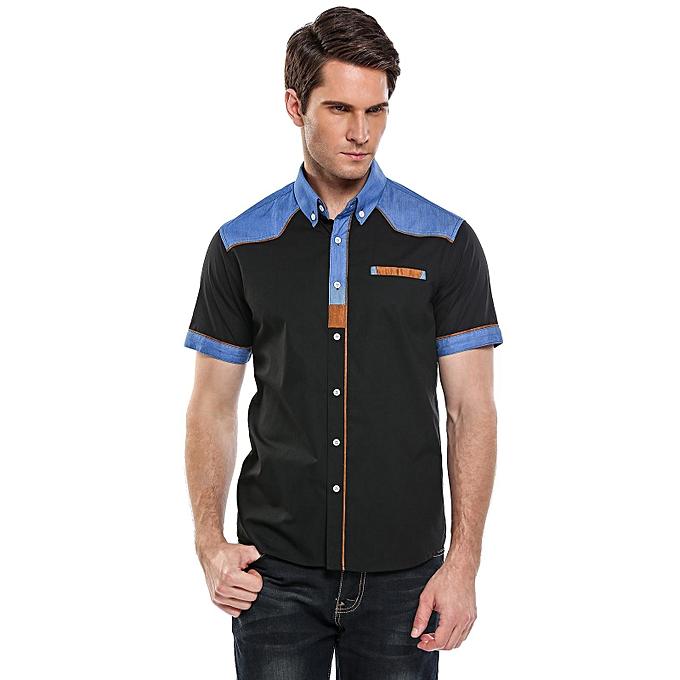 Sunshine Men's Short Sleeve Patchwork Contrast Couleur  Button Down Shirt-noir à prix pas cher