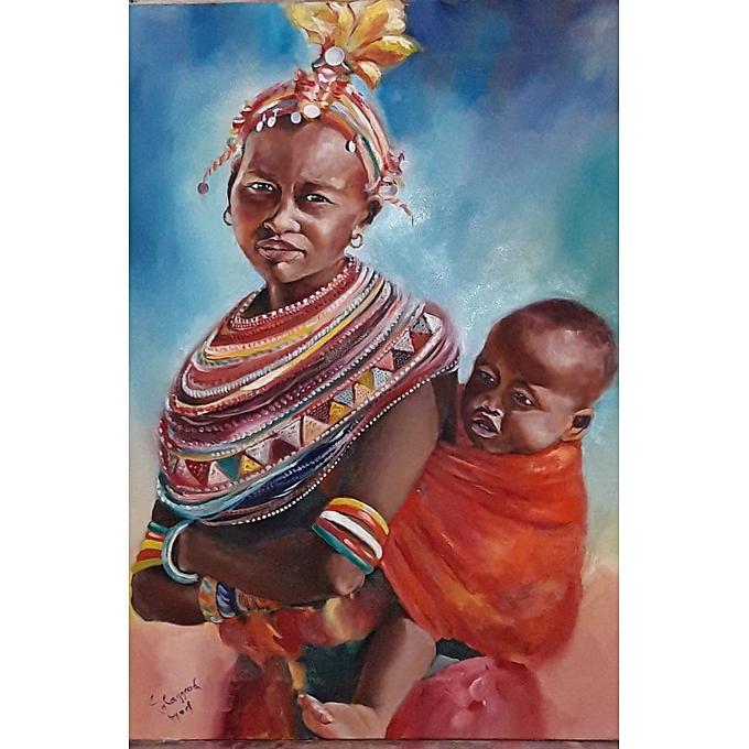 Generic Tableau Murale décoratif - Femme massaï.huile sur toile. 70 50cm à prix pas cher