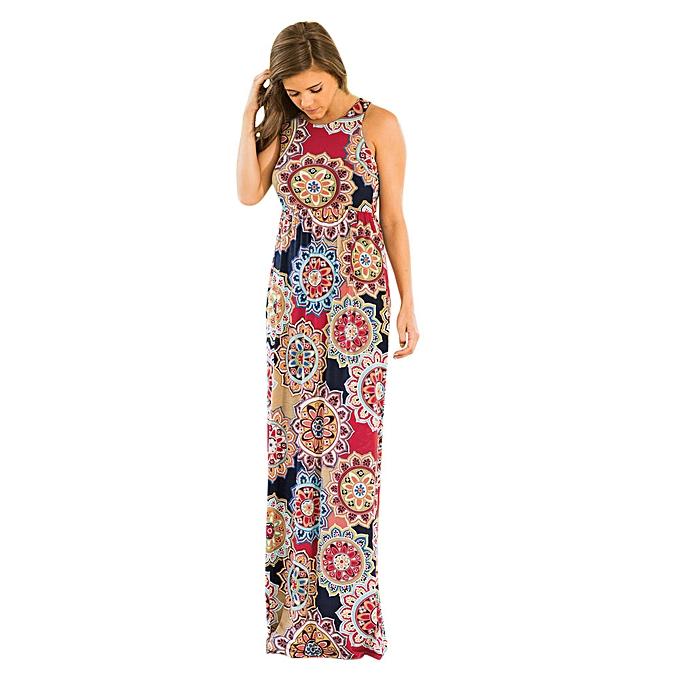 Fashion quanxinhshang   femmes Floral Tank Maxi Dress Pocket Sleeveless Casual Summer Long Maxi Dress à prix pas cher