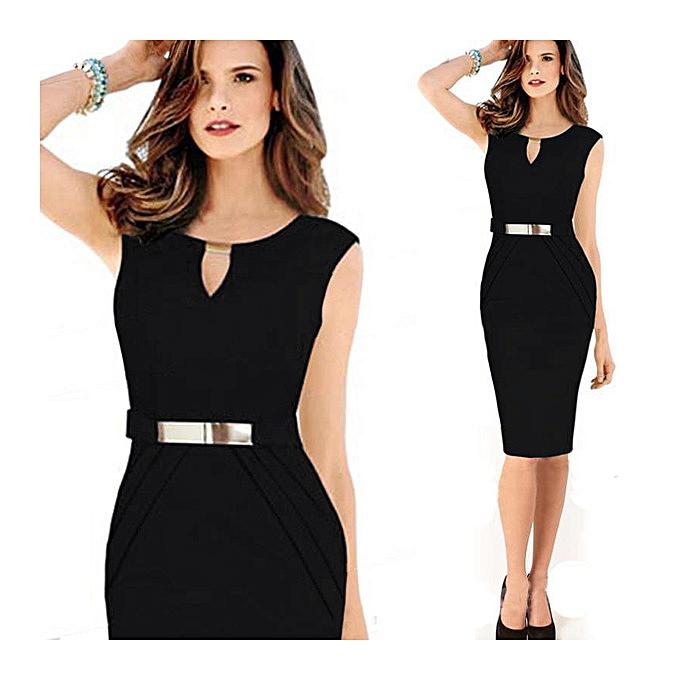 Generic Nice Metal Buckle Small V-neck Slim Temperament Pencil Skirt Large Taille Dress-noir à prix pas cher