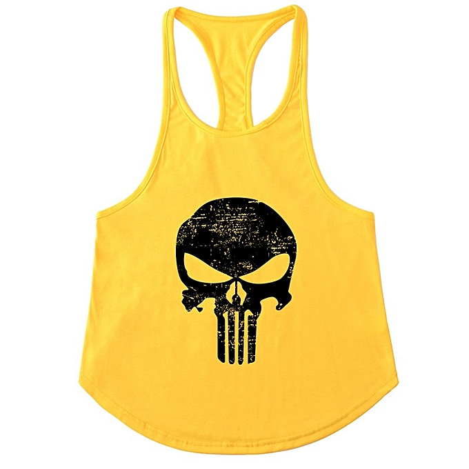 Other Men's Punisher's Skull Slim Shoulder Belt Running Sports Fitness vest-jaune&noir à prix pas cher